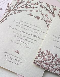 spring wedding invitations on white shimmer card stock | cherry, Wedding invitations