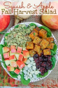 Fall Harvest Salad with Apple Cider Vinaigrette Dressing- This easy sweet and salty salad features butternut squash, apple, pumpkin seeds, dried cranberries and blue cheese. Use your favorite greens like kale. Perfect Vegetarian Autumn Salad for any day or even special enough for Thanksgiving. / Running in a Skirt #fall #autumn #salad #healthyliving #vegetarian Autumn Chopped Salads, Harvest Salad, Fall Harvest, Vinaigrette, Apple Cider, Cobb Salad, Food, Autumn Harvest, Meals