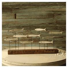 Fish School Sculpture Reclaimed Wood Industrial Art Block Rustic Metal Wooden…