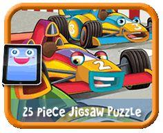 Cartoon Race Cars - 25 Piece Online jigsaw puzzle for kids