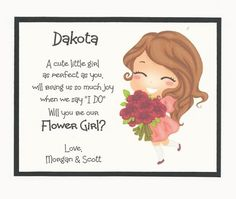 I need the name of the Flower Girl and the future bride and groom names. Bridal Party Invitations, My Flower, Flowers, Cute Little Girls, Girly, Handmade Gifts, Cards, Wedding, Etsy
