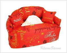 Kosmetiktücher-Boxen - Weihnachtsgrüße - Bezug für Taschentuchbox - ein Designerstück von KleineSterne bei DaWanda