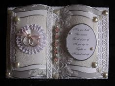 "Beautiful Pink ""Wedding Book "" Card, a lovely keepsake for that special couple. https://www.facebook.com/HandmadeKeepsakeRagDolls"