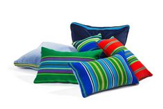 Cushions with woolen striped hand made fabric from Lowicz Region (Poland) by Folka.pl