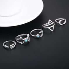 5pcs/set Stacking Punk Rings for Women Geometric Triangle Midi Ring With Crystal Female Antique Silver Color Stone Jewelry