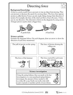 Force, Inertia, Velocity, and Speed - Science Worksheet | It is ...