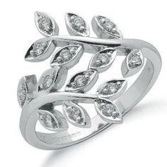 9ct White Gold & Diamond Leaf Design Ring