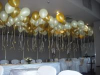 10 simple diy birthday party decorations festa beautiful ceiling decoration over wedding table with 11 inch helium inflated gold white balloons junglespirit Choice Image