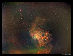 Flaming star nebula (IC405) - narrowband - tonemapping - LRGB composition - Hubble palette  SII, H-a, H-b and OIII captured with FSQ106ED @ f/5.0 530mm focal length  4x20 minutes bin 1x1 12nm SII filter = 1h20  3x20 minutes bin 1x1 6nm H-a filter = 1h00  4x20 minutes bin 1x1 12nm OIII filter = 1h20  4x20 minutes bin 1x1 12nm H-b filter = 1h20  Total exposure time 5h00  Luminance: 100% H-a + 15% OIII + 15% SII + 15% H-b   Chrominance: SII, H-a, and OIII are mapped to RGB respectively