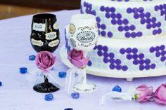 Bride & Groom's drinking glasses. Originalidad hecha copas. www.fullbodas.com Wine Glass, Tableware, Centerpieces, Weddings, Dinnerware, Tablewares, Dishes, Place Settings, Wine Bottles