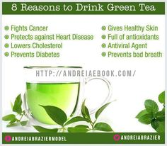 8 Reasons to drink Green Tea 1.Fights cencer 2.Protects against Heart Disease 3.Lowers Cholesterol 4.Prevents Diabetes 5.Gives Healthy Skin 6.Full of antioxidants 7.Antiviral Agent 8.Prevents bad breath