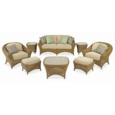 Martha Stewart Living Lily Bay 6 Piece Wicker Patio Seating Set With  Oatmeal Cushions $649.50