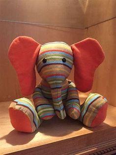 Memory Bear Pattern for Elephant Elephant Stuffed Animal, Sewing Stuffed Animals, Stuffed Animal Patterns, Pretty Toys Patterns, Sewing Patterns Free, Free Pattern, Diy Teddy Bear, Teddy Bears, Old Baby Clothes