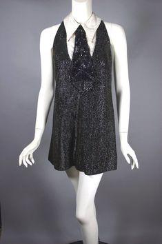 Tunic Original Vintage Dress XS black and white stripes size 34