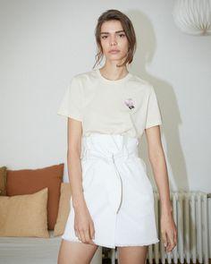 SEDU - Paperbag waist denim mini skirt - White – Nanushka