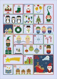 Christmas Advent Calendar sampler PDF cross by cloudsfactory