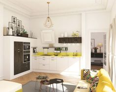 12 small kitchens that make us look - My Romodel Living Room Kitchen, Home Decor Kitchen, Interior Design Kitchen, Small Living, Home And Living, Home Kitchens, Small Kitchens, Cuisines Design, Kitchen Styling