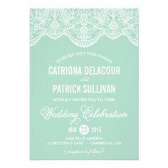 Mint Brocade Lace Wedding Invitation