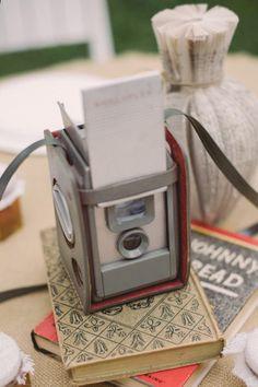 BOOKS/ Vintage camera centerpiece - Chattanooga Wedding from Amanda Scott Photography