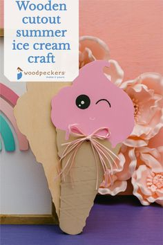 """CRAFT IT SUMMER - Pull out the paints, because we've got awesome ice cream cutouts wood cutouts for the lazy + fun summer days! If you're looking for an easy wood projects for kids, this ice cream cutouts craft is just the thing to keep 'em busy!ICE CREAM CONE CUTOUTS ... that WON'T give you splinters. Enjoy effortless crafting with our always pre-sanded craft wood shapes. Our cut out shapes are crafted from top-quality Baltic birch plywood, and are a sturdy 1/4"""" thick. Ice Cream Cone Craft, Ice Cream Crafts, Summer Ice Cream, Wood Burning Tool, Wood Projects For Kids, Wooden Cutouts, Cut Out Shapes, Baltic Birch Plywood, All Craft"""