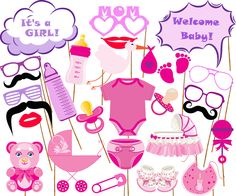 "Baby shower photo props: ""BABY GIRL PROPS"" Its a girl Printable Photo booth Props Team Pink Baby Girl Printable Party Props baby shower game by stickericashop on Etsy https://www.etsy.com/listing/463731993/baby-shower-photo-props-baby-girl-props"