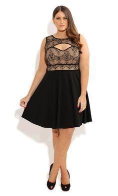Plus Size Lace Cut Out Skater Dress - City Chic - City Chic