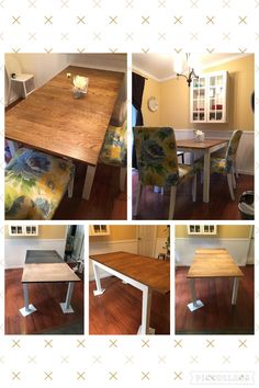 Ikea Bjursta table. Started with a brown black Bjursta table and transformed it into this! With only a sander and paint/stain and of course time, I think it turned out amazing!!