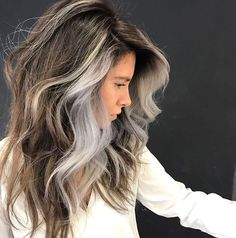 silver hair hair highlights in - haar Long Gray Hair, Silver Grey Hair, Brown To Grey Hair, Blue Gray Hair, Grey Hair At 40, Curly Gray Hair, Brown Lob, Grey Hair Looks, Gray Green