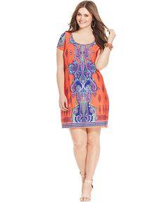 Soprano Plus Size Lace Chevron Print Dress Trendy Plus Sizes