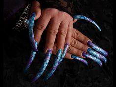 Nail art is subjective. Sexy Nails, Fun Nails, Nice Nails, Really Long Nails, Curved Nails, Finger Nail Art, Nail Photos, Long Acrylic Nails, Types Of Nails