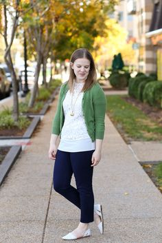 j.crew factory work pants, winnie pants, lace top, green cardigan, madewell d'orsay flats, snake skin print, outfit, women, fashion, style