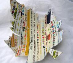 Fiber Art Fabric Bowl Selvage Leaf por bungalowquilts en Etsy, $28.00