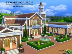 St Mary's Church is a community lot built on a 50 x 50 lot in Willow Creek on the Oakenstead Lot.  Found in TSR Category 'Sims 4 Community Lots'