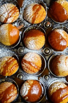 The best, buttery pumpkin madeleines ever! Here's my quick and easy recipe for cinnamon spiced madeleines with a rich caramel sauce Cinnamon Recipes, Pumpkin Recipes, Fall Recipes, Sweet Recipes, Kitchen Recipes, Baking Recipes, Snack Recipes, Dessert Recipes, Baking Desserts