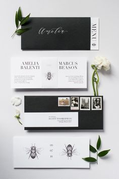 Black and white #weddinginvitations | PHOTOGRAPHY Roots Of Life Photography | PLANNING Amelia Cole Weddings | STATIONERY Emily Rose Ink | FLORAL DESIGN The Petal