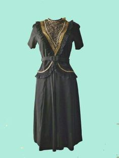 Vintage Anna Sui Black Dress 1980's Vintage s Dress Deep V
