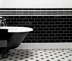 Black tiles for victorian bathroom