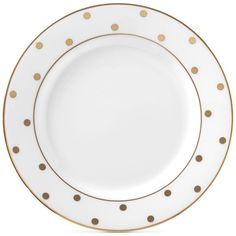kate spade new york Larabee Road Gold Bone China Butter Plate ($19) ❤ liked on Polyvore featuring home, kitchen & dining, dinnerware, dishes, kitchen - plates, white, kate spade dinnerware, polka dot dishes, gold dish and white bone china