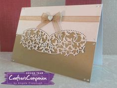 "5"" x 7"" Card made using Crafter's Companion Die'sire Create-A-Card Decorative Die Isabel. Designed by Angela Clerehugh #crafterscompanion"
