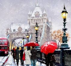 An Old Photo of Tower Bridge London England in Snow Winter Pictures, Christmas Pictures, Christmas Art, Winter Painting, Winter Art, London Drawing, Creation Photo, Umbrella Art, Walking In The Rain
