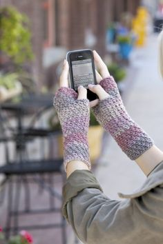 Crochet fingerless gloves pattern from Texting Mitts by Andee Graves