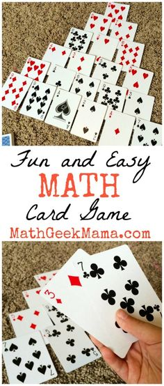 Fun and Easy Math Card Game that kids can play over and over! All you need is a deck of cards! Pyramid is a simple to learn math card game to make ten that can be played with a regular set of playing cards. It helps build number sense in early learners. Easy Math Games, Math Card Games, Card Games For Kids, Math For Kids, Math Activities, Dice Games, Number Bonds Activities, Ten Games, Learning Games