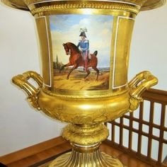 .A magnificent meissen porcelain vase with a military cavalry subject upon it. In excellent condition.  Circa: 1890  Height: 26 inches    Width: 10 inches