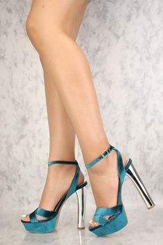 The features includes a bold color with a velvet fabric, ankle strap with a high polish side buckle, open top, crisscross vamp, mirror chunky high heel and finished off with a cushion foot-bed. Approximately 5 inch chunky heel and inch platform. Ankle Strap Heels, Ankle Straps, Shoes Heels, Heeled Sandals, Sandals Outfit, Flats, Dress Shoes, Talons Sexy, Frauen In High Heels