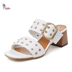 RUGAI-UE Mode d'été occasionnels Chaussures Femmes Sandales talons confort pu marcher en plein air,or,US8.5/EU39/UK6.5/CN40