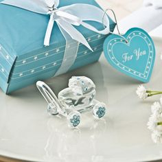 Choice Crystal Collection Clear Crystal Glass Baby Carriage With Blue Crystal Design Accents - 2279