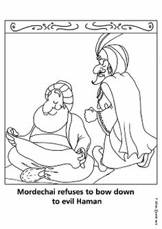 coloring page purim mordechai refuses to bow down to the evil haman english