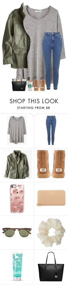 """""""Day 4- Lunch With Friends"""" by lovemyariana ❤️ liked on Polyvore featuring MANGO, Topshop, American Eagle Outfitters, UGG Australia, Casetify, Kate Spade, Ray-Ban, Miss Selfridge and Michael Kors"""
