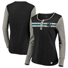 c66ddab8 San Jose Sharks Fanatics Branded Women's True Classics Retro Henley Long  Sleeve T-Shirt -