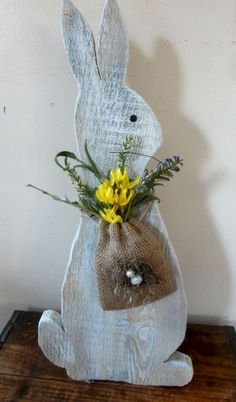 Rustic Easter Bunny/ Wooden Bunny/ Rustic Spring decor/ Painted Rabbit by AVintageWren on Etsy Easter Projects, Easter Crafts, Craft Projects, Easter Decor, Easter Ideas, Wooden Crafts, Diy And Crafts, Crafts For Kids, Spring Crafts
